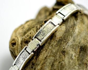 Large Men's bracelet sterling silver bangle, link bracelet rustic organic jewelry for men