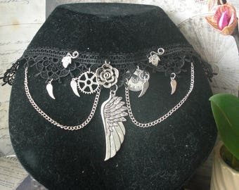 Lace black steampunk wings, clock and openwork rose