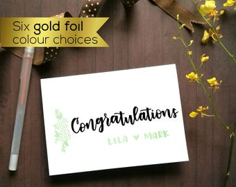 Custom wedding card, Custom engagement card. Congratulations card, Personalised greeting card. Gold foil modern greeting card, wedding gift