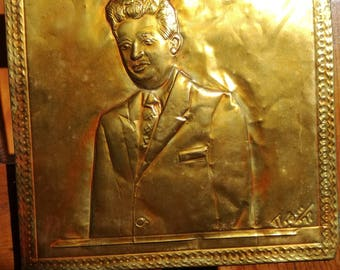 Nicolae Ceausescu hand tooled copper 1977