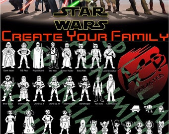 Star Wars Stick Figure Family Member Decals Stickers Buy 4 get 1 FREE