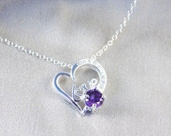 Silver Necklace Heart Love Purple Crystal Zirconia