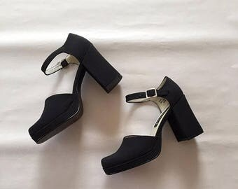 20% OFF SALE... black platform sandals | 90s ankle strap heels | 7.5
