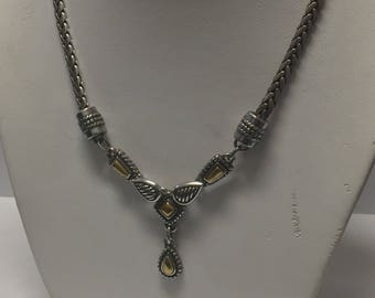 Retired brighton etsy rare retired silver brighton teardrop wheat necklace mozeypictures Images