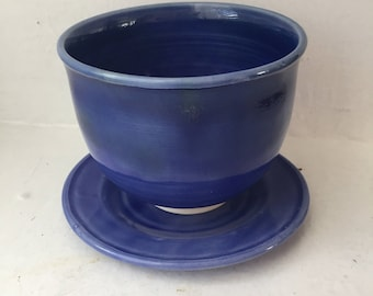 Navy Teacup and Saucer