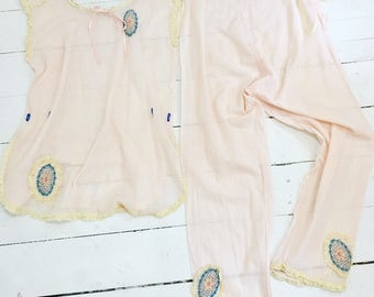 1920s Pinky Peach Cotton & French Embroidered 2 Piece Pajama Loungewear Set S/M