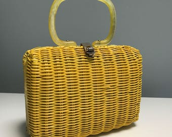 Vintage Yellow Basket Hand Bag