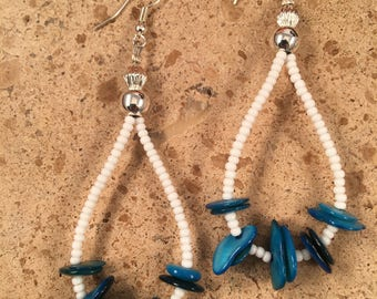 Vintage Navajo Shell Beaded Dangle Earrings