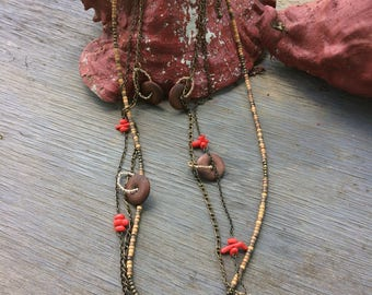 Wood beaded necklace with red beads