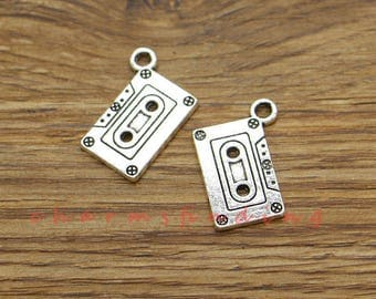 15pcs Cassette Tape Charms Retro Flashback Charms Antique Silver Tone 16x23mm cf3485