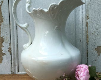 Large White Ironstone Pitcher-on hold
