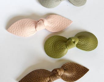 FLASH SALE:  Woodland Collection Leather  Hair Bows or  Headbands // Set of Four Leather Bows