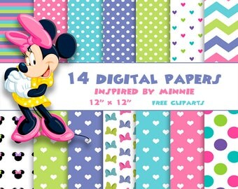 14 DIGITAL PAPERS MINNIe Mouse + Free Cliparts PNG, birthday