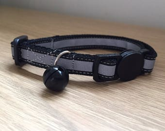 Black Reflective Safety Kitten/Cat Collar (Quick Release)