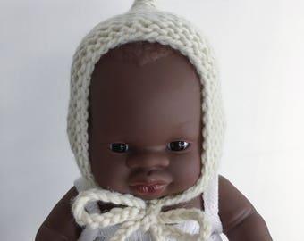 Ecru Doll Bonnet | Miniland 21cm Baby Doll Bonnet | Hat for doll | Miniland baby doll clothes | miniature bonnet | merino doll bonnet