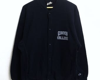 RARE!!! Gordon College By Champion Small Logo Embroidery Dark Blue Colour Button Down Sweaters Hip Hop Swag L Size