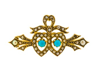 Marvelous Antique Victorian Turquoise and Seed Pearl Twin Heart Brooch in 15ct Yellow Gold (7015006)