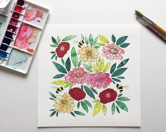 Bumblebees and Zinnias watercolor painting print 10x10, giclee print, floral watercolor, watercolor flower painting, insect painting