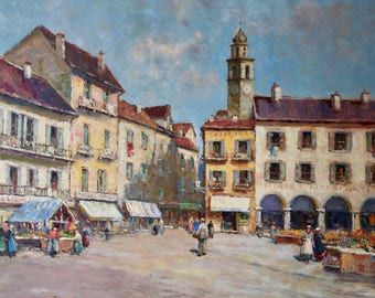 076 -  European street scene, Dennis Ainsley (1880-1952)