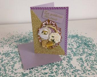 Handmade golden Wedding Card