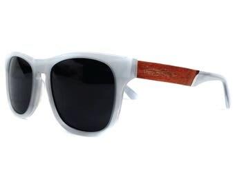 Bantham wood & acetate polarized sunglasses - White Pearl
