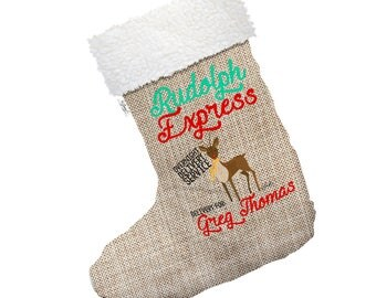 Rudolph Overnight Delivery Personalised Large Hessian Deluxe Christmas Stocking With White Fur Trim