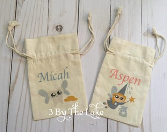 Personalized Cotton Tooth Fairy Bags with your Child's name, size 4x 6 inches