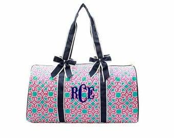 Pink and aqua Geometric duffle bag, Monogrammed duffel bag Personalized Tote Travel Tote Cheer Gym Weekend Weekender