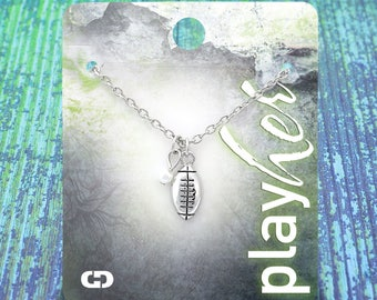 Customizable Silvertoned Football Necklace with Pearl - Personalize with Jersey Number, Heart, or Letter Charm! Great Football Mom Gift!