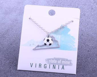 Customizable! State of Mine: Virginia Soccer Enamel Necklace - Great Soccer Gift!