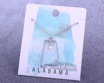 Customizable! State of Mine: Alabama Silver Necklace - Great Gift!