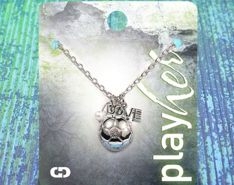 Customizable Soccer Love Silver Necklace - Personalize with Jersey Number, Heart Charm, or Letter Charm! Great Soccer Gift!
