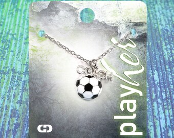 Customizable Soccer Coach Enamel Necklace - Personalize with Jersey Number, Heart Charm, or Letter Charm! Great Soccer Coach Gift!