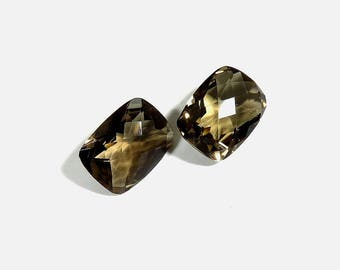 18Cts 16X12X7mm Smoky Quartz Briolette Cut Loose Gemstones Natural Top Quality Smoky Quartz For Jewelry Making 2 Pieces Pair