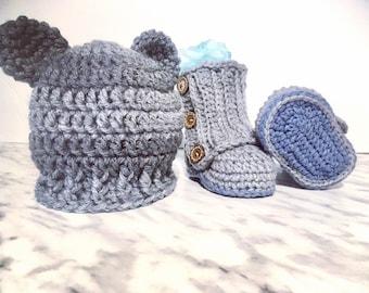 Crochet Bear Hat and Boot Set