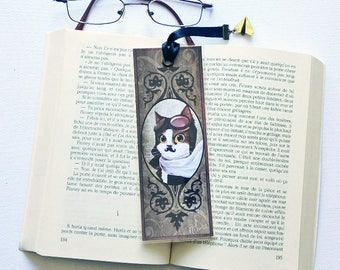 Bookmark The aviator cat - illustrated, laminated, handmade