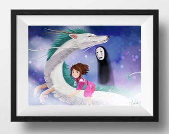 Spirited away - Digital Illustration printed on A4 photo paper poster
