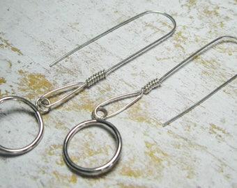 Sterling Silver Long Dangle Earrings - Wire Wrapped - Silver Earrings - Gift for Her - Dangle Earrings