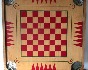 Vintage Carrom, Vintage Carrom Game Board, Carrom Industries. Game Board for Carrom, Checkers, and Backgammon