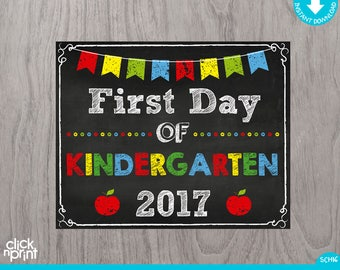 First Day of Kindergarten Sign Instant Download Print Yourself, First Day of Kindergarten Chalkboard Sign, Printable School Sign