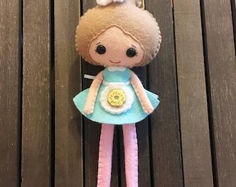 Bakery Doll, Noialand, Noialand Doll, Felt Doll, Felt Bakery Doll, Handmade Doll, Aqua Doll