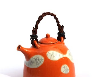 Handmade Tea Pot with Bamboo or Leather Handle