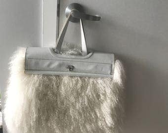 Beautiful Creme X-Large Mongolian Fur Bag with creme leather closure and handles