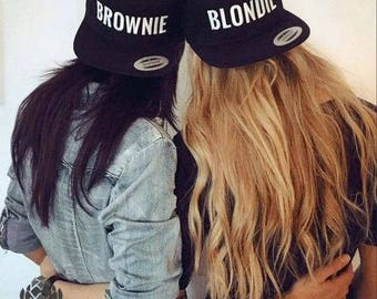 BROWNIE and BLONDIE Embroidered Flat Bill Snapback Cap, Friend Cap Christmas friend gift BFF Best friends cap Best friend gift