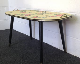 Upcycled furniture, coffee table, midcentury, with yellow chinoiserie papered top.