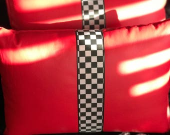 Red Leather With Black and White