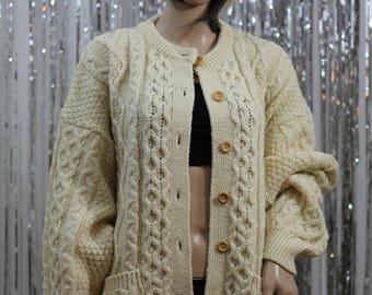 Vintage Pure Wool TIVOLI Sweater Authentic Irish Aran Fisherman| Cable Knit Sweater (L)