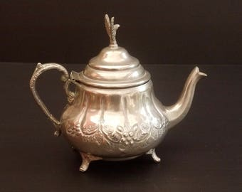 Moroccan Handmade Silver Engraved Tradional Rustic 1970s Teapot, Teapot, Hammered Floral Pattern with Eagle