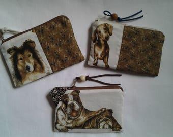 Key pocket, key case, wallet, purse, coin purse, dog, Colli, Chihuahua, map pocket, animal motif, Keychain