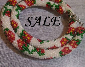 SALE!!! SALE!!! Strawberry crochet necklace Beaded rope necklace Crochet Bead Rope Necklace